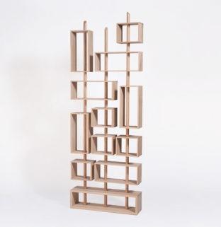 bibliotheque 3 mats modulable en bois brut clair