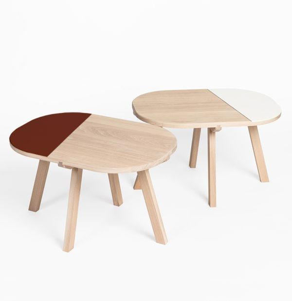 table de chevet ronde table basse guéridon gigogne bois brut blanc minimaliste déco Drugeot
