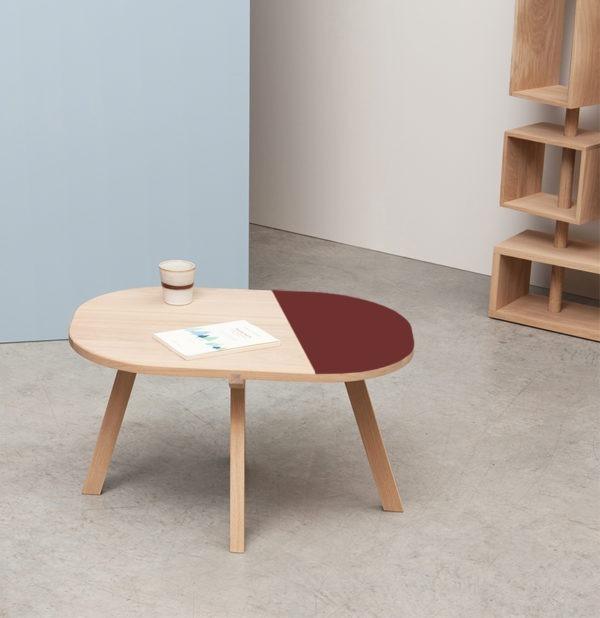 salon inspiration décoration intérieure petite table basse bicolore bois ovale
