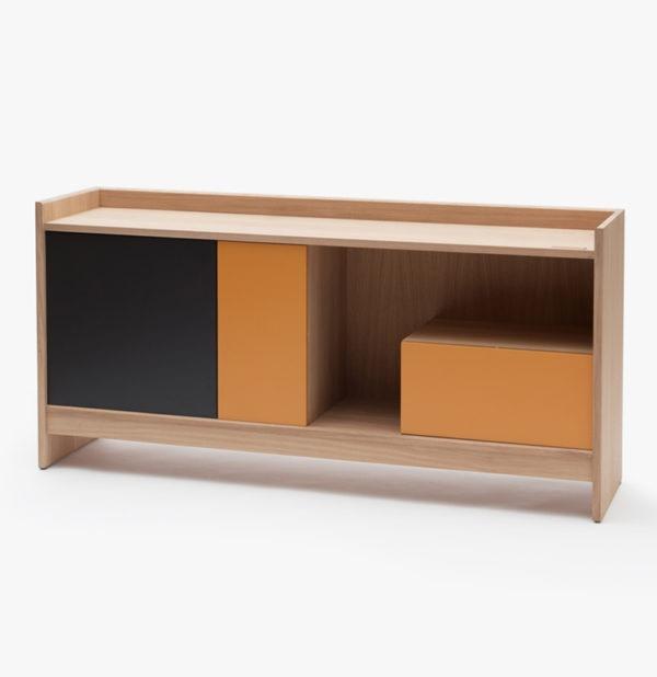 Buffet rangement bicolore astucieux design bois massif France - Drugeot