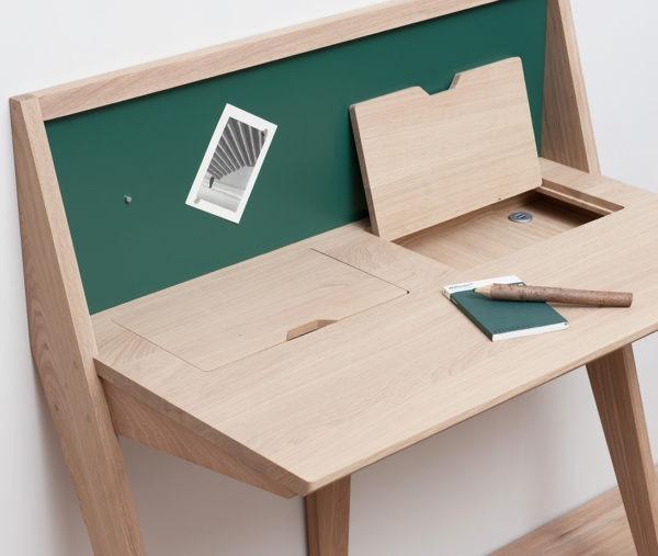Bureau meuble minimaliste designer Thomas Merlin bois vert sapin façon secrétaire