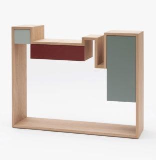 console étroite design pour petite entrée bois gris terracotta Drugeot