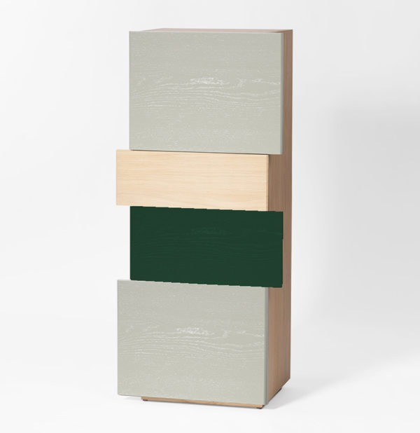 meuble de rangement nuance de vert petite entrée décalage bas