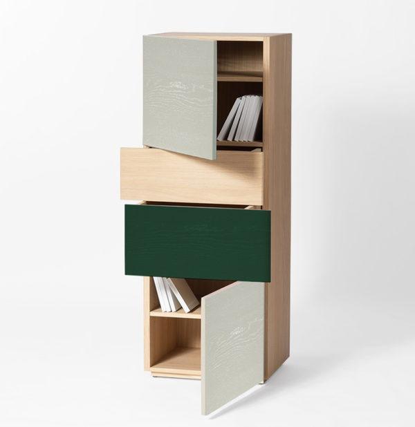 colonne de rangement nuance de vert bois massif clair design Drugeot