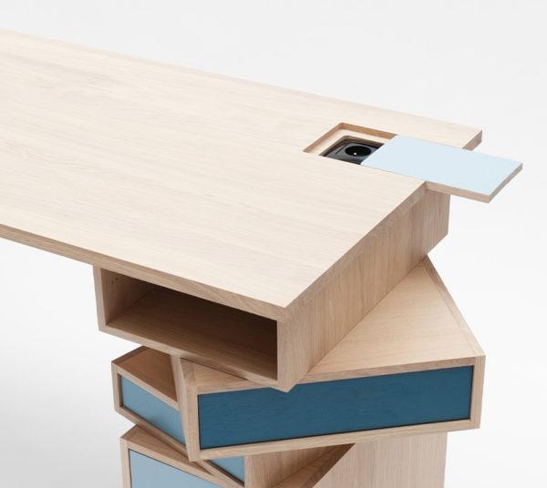 Bureau bois prise intégrée nuance de bleu meuble artisanat français Drugeot