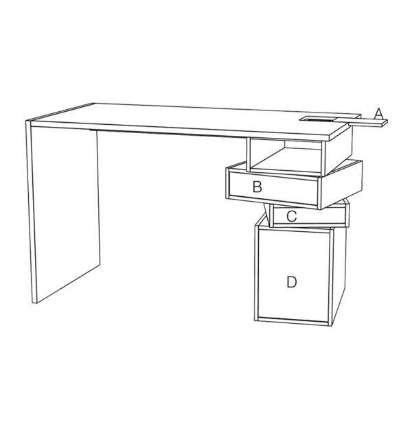 Description filaire bureau meuble bois ergonomique travail à la maison - Drugeot