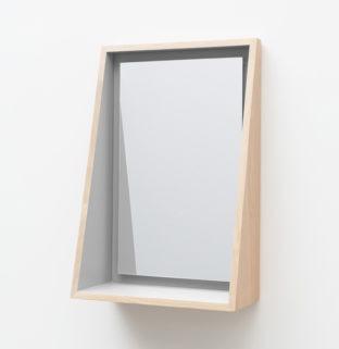 miroir float avec tablette design en bois
