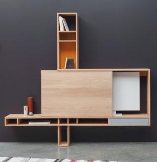 comment masque télé tv meuble salon en bois porte coulissante