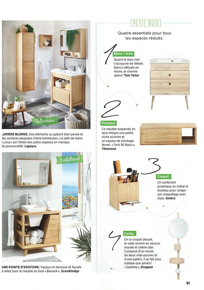 Salle de bain nature bois clair massif meuble décoration Drugeot