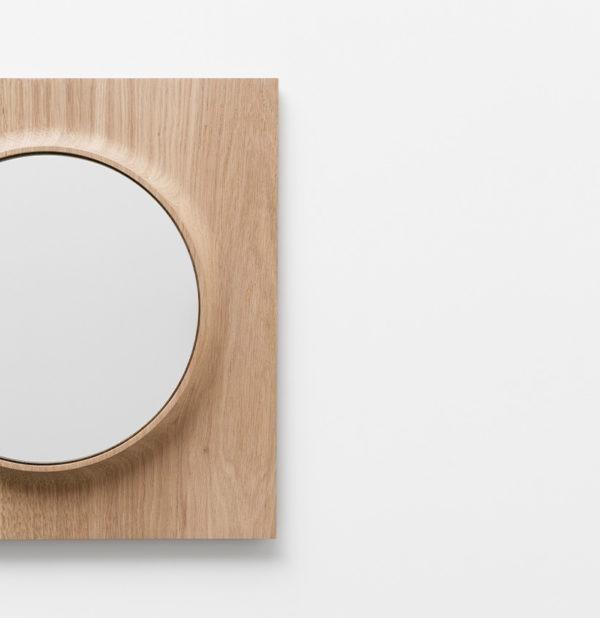 miroir circuit rond chêne