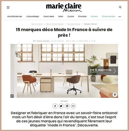 Drugeot Manufacture, 1ère du top 15 des marques déco françaises de Marie Claire Maison