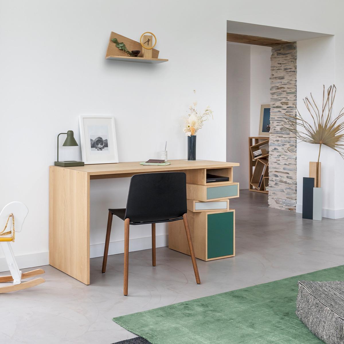 aménager coin bureau télétravail home office design meuble bois made in France