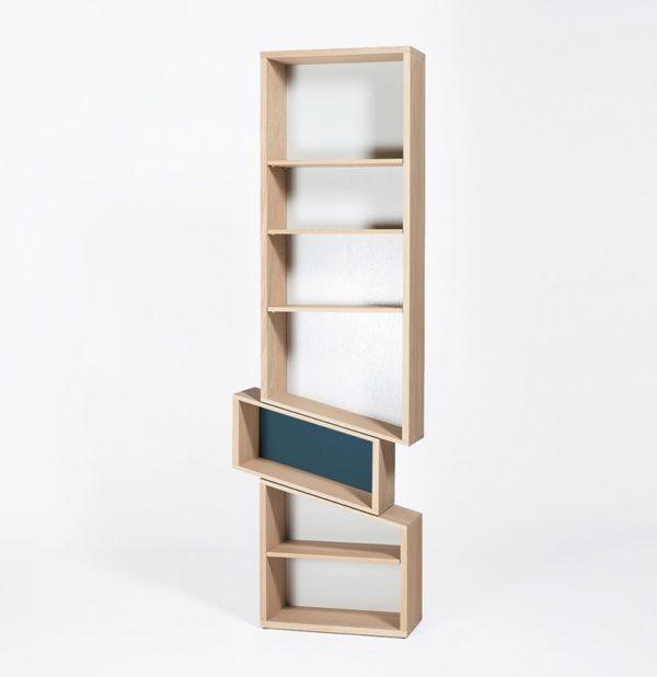 meuble bibliothèque design slide case décalée bois massif équilibre bleu canard marine