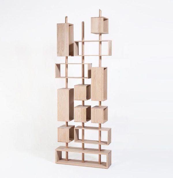 bibliothèque graphique pivotante modulable meuble original cube suspendu made in France 3 mats drugeot manufacture