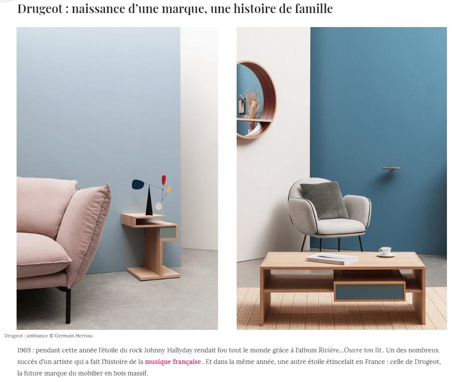 parution presse déco o magazine drugeot meuble bois made in France