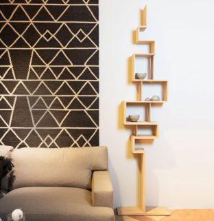 Glycine étagère rangement livre sur pied bois massif façon statue design moderne