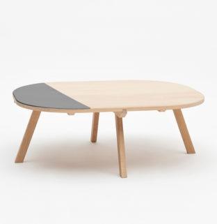 table basse design en bois chêne naturel Aronde gris fumé