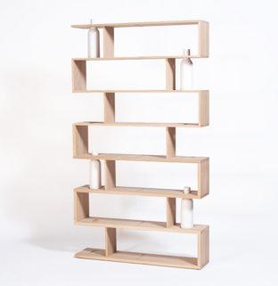 bibliotheque bibliofleur bois brut blanche avec vase soliflore intégré - Drugeot mobilier design