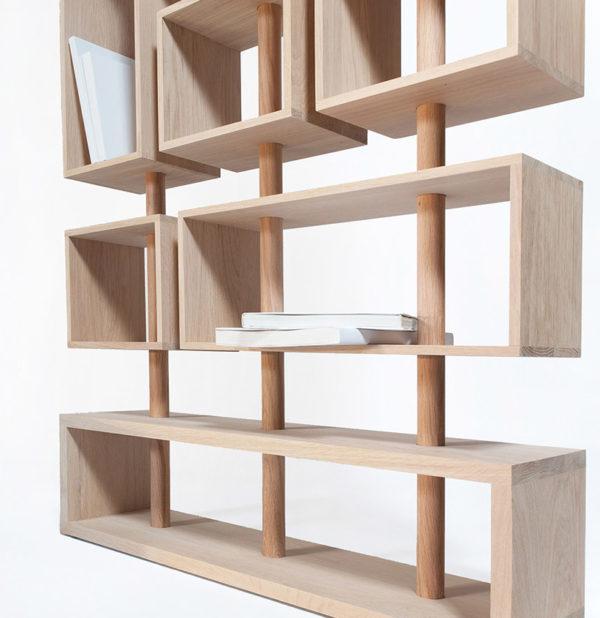 bibliothèque design modulable en chene bois massif rangement long niche ouverte séparation pratique verticale mat livres arty - Drugeot