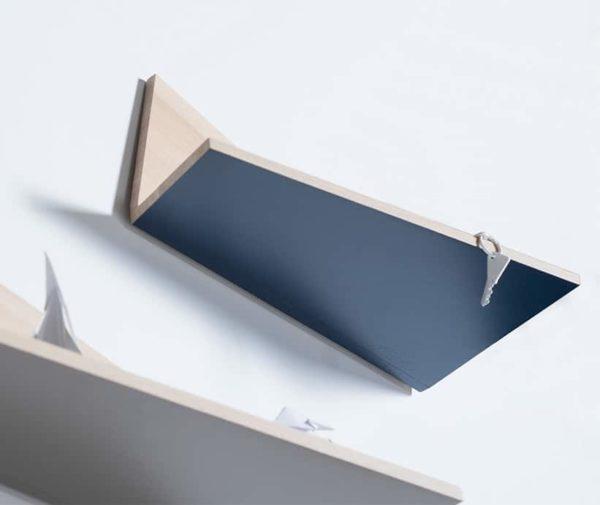 étagère murale fabriquée en France mobilier écologique Pliage Drugeot bleu foncé personnalisable