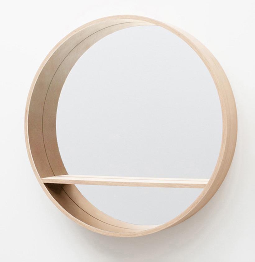 grand miroir-console rond en bois chêne clair naturel 125