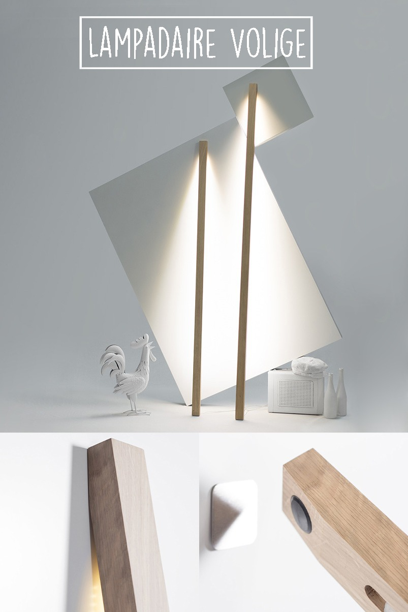 lampe à poser en bois chêne massif luminaire mural design architecte idée aménagement salle de bain ambiance décoration intérieure fabrication made in france - Volige Drugeor Manufacture