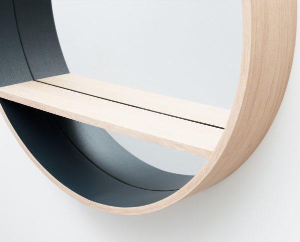 meuble durable écoresponsable en bois massif chêne naturel tablette étagère miroir rond mur mesure