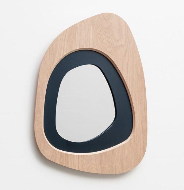 miroir galet design en bois massif chêne fabriqué en France accessoire déco durable écoresponsable