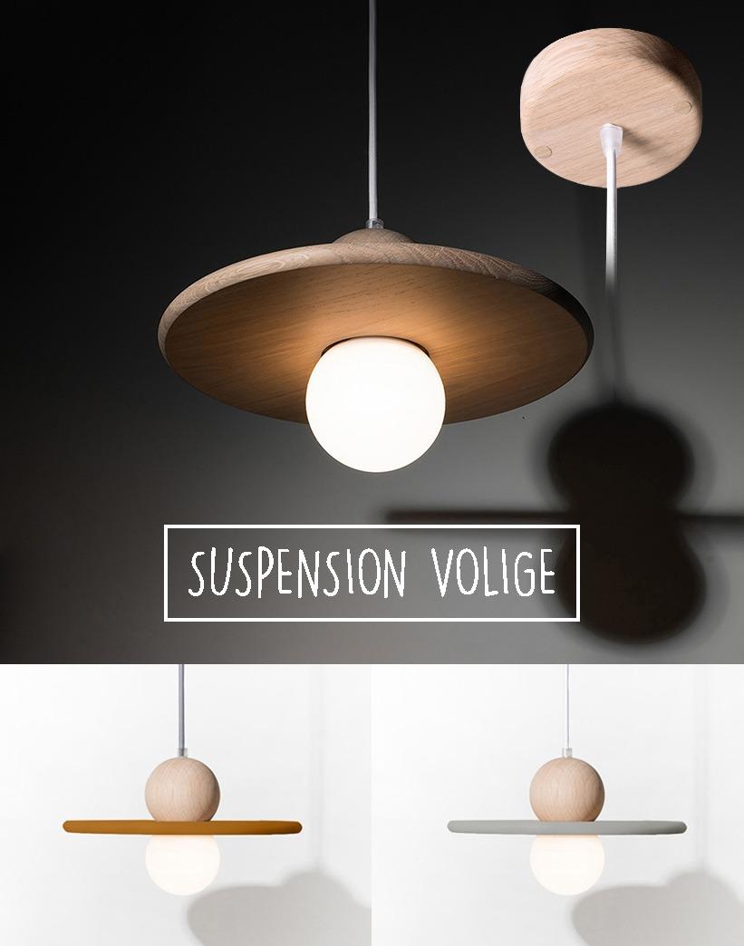 lampe de salle de bain suspension luminaire bois massif chêne naturel fabrication française couleur personnalisable lumière ronde sur-mesure - Volige Drugeot Manufacture