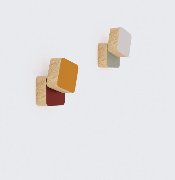 patère en bois massif colorée porte-manteau mural personnalisable design discret épuré géométrique décoration atypique