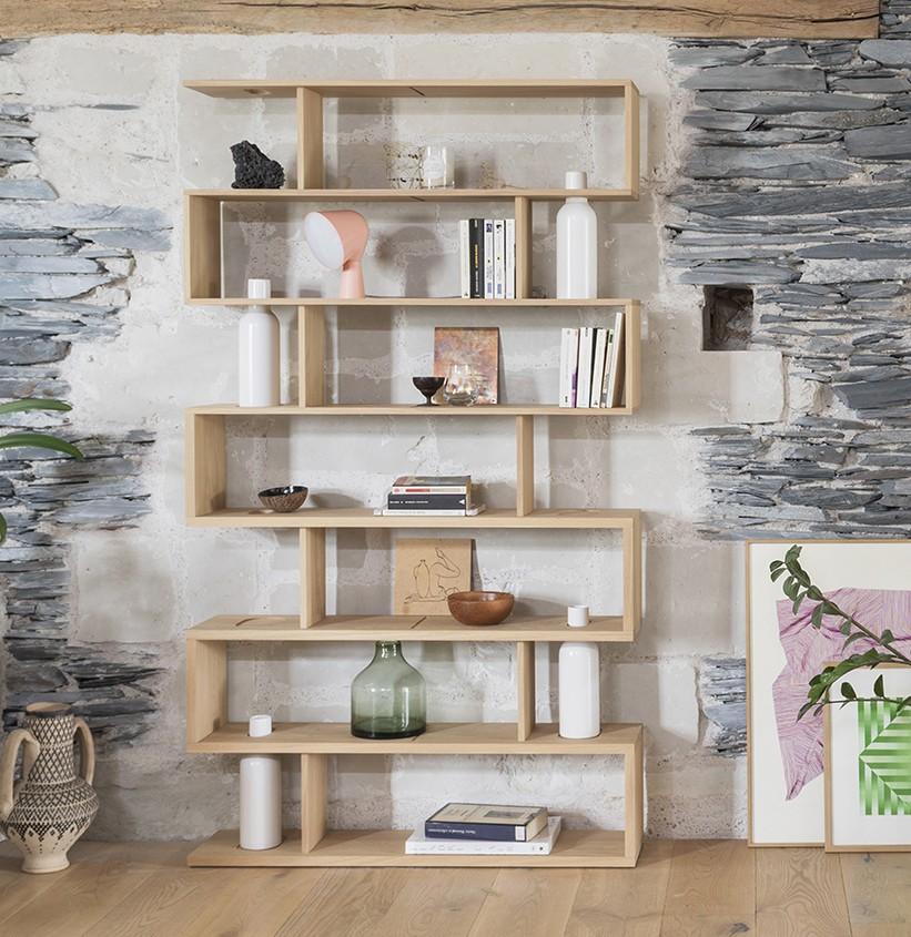 Bibliothèque de salon en bois romantique Bibliofleur style japandi