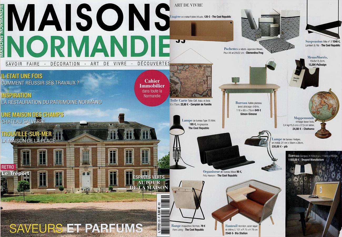 Parution article magazine Maison Normandie sélection de bureaux design tendances en bois